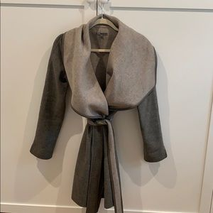 Vince wool and leather trimmed jacket/sweater